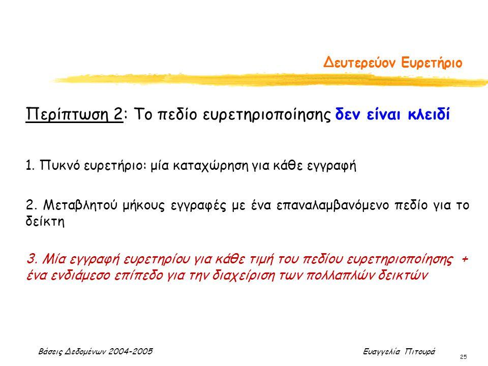 Βάσεις Δεδομένων 2004-2005 Ευαγγελία Πιτουρά 25 Δευτερεύον Ευρετήριο Περίπτωση 2: Το πεδίο ευρετηριοποίησης δεν είναι κλειδί 1. Πυκνό ευρετήριο: μία κ