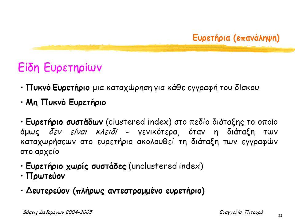 Βάσεις Δεδομένων 2004-2005 Ευαγγελία Πιτουρά 32 Ευρετήρια (επανάληψη) Είδη Ευρετηρίων Πυκνό Ευρετήριο μια καταχώρηση για κάθε εγγραφή του δίσκου Μη Πυ