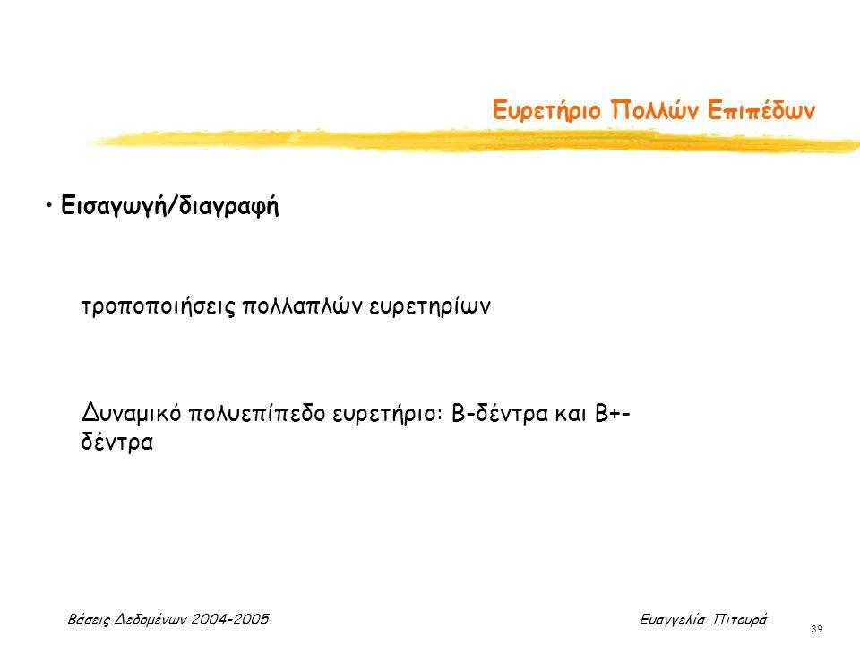 Βάσεις Δεδομένων 2004-2005 Ευαγγελία Πιτουρά 39 Ευρετήριο Πολλών Επιπέδων Εισαγωγή/διαγραφή τροποποιήσεις πολλαπλών ευρετηρίων Δυναμικό πολυεπίπεδο ευ