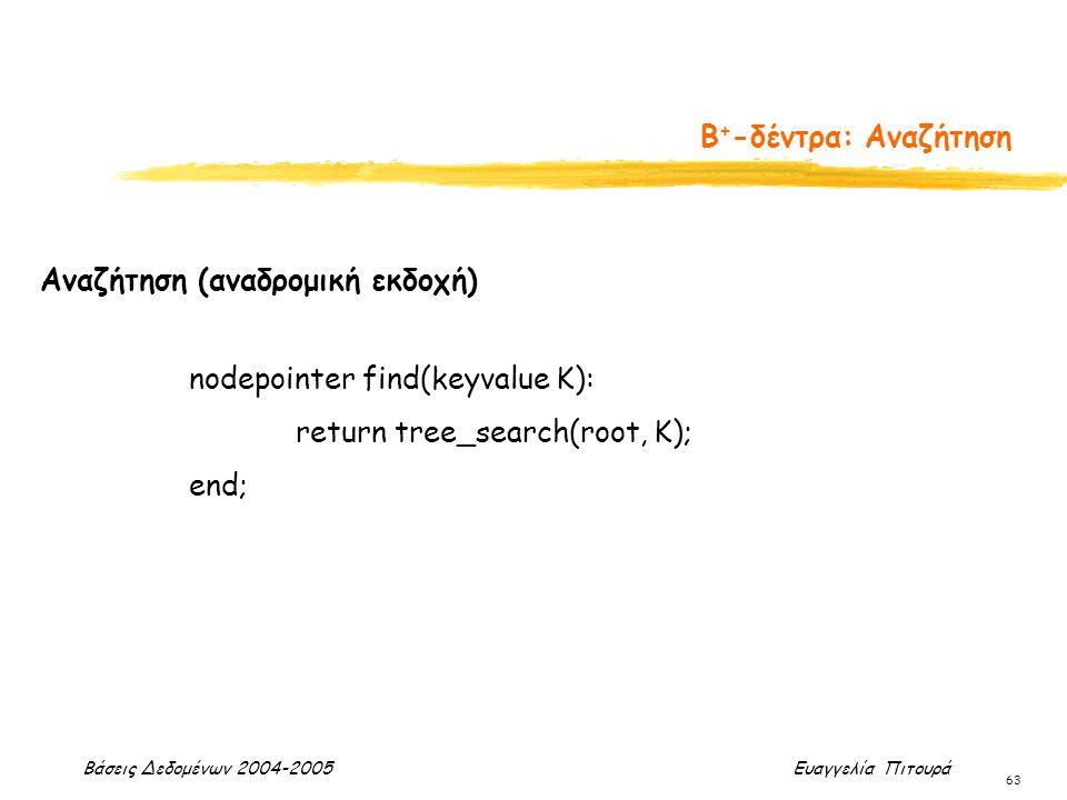 Βάσεις Δεδομένων 2004-2005 Ευαγγελία Πιτουρά 63 Β + -δέντρα: Αναζήτηση Αναζήτηση (αναδρομική εκδοχή) nodepointer find(keyvalue K): return tree_search(