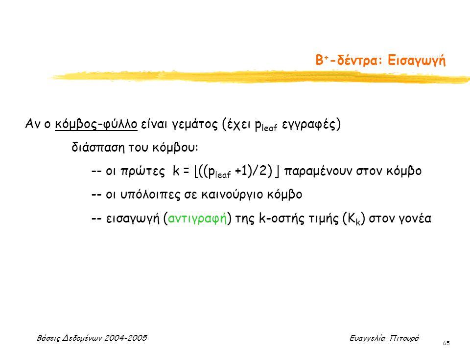 Βάσεις Δεδομένων 2004-2005 Ευαγγελία Πιτουρά 65 Β + -δέντρα: Εισαγωγή Αν ο κόμβος-φύλλο είναι γεμάτος (έχει p leaf εγγραφές) διάσπαση του κόμβου: -- ο