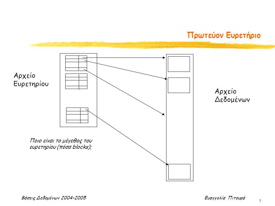 Βάσεις Δεδομένων 2004-2005 Ευαγγελία Πιτουρά 7 Πρωτεύον Ευρετήριο Αρχείο Ευρετηρίου Αρχείο Δεδομένων Ποιο είναι το μέγεθος του ευρετηρίου (πόσα blocks