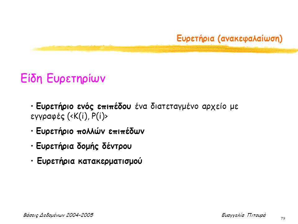 Βάσεις Δεδομένων 2004-2005 Ευαγγελία Πιτουρά 79 Ευρετήρια (ανακεφαλαίωση) Είδη Ευρετηρίων Ευρετήριο ενός επιπέδου ένα διατεταγμένο αρχείο με εγγραφές