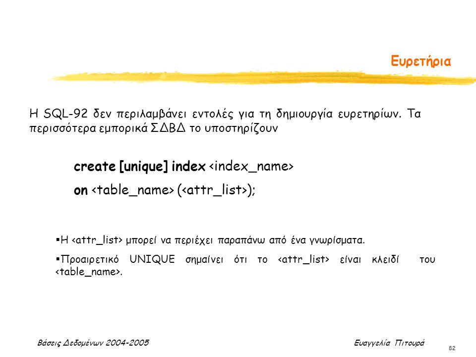 Βάσεις Δεδομένων 2004-2005 Ευαγγελία Πιτουρά 82 Ευρετήρια create [unique] index on ( ); H SQL-92 δεν περιλαμβάνει εντολές για τη δημιουργία ευρετηρίων
