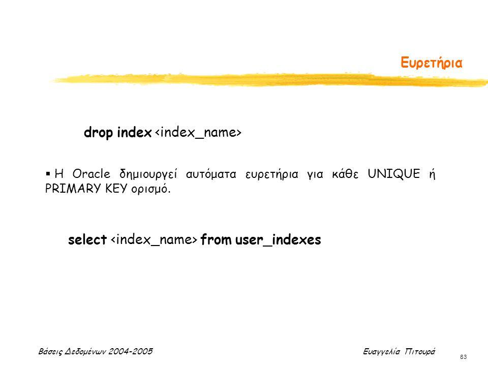 Βάσεις Δεδομένων 2004-2005 Ευαγγελία Πιτουρά 83 Ευρετήρια drop index  H Oracle δημιουργεί αυτόματα ευρετήρια για κάθε UNIQUE ή PRIMARY KEY ορισμό. se