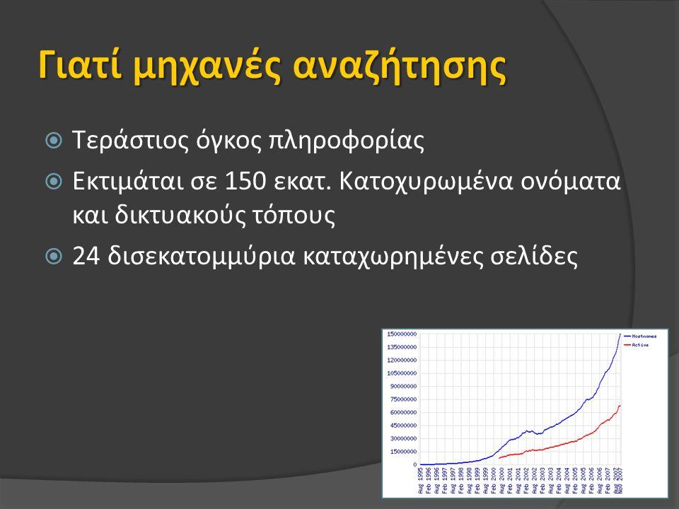  Τεράστιος όγκος πληροφορίας  Εκτιμάται σε 150 εκατ.