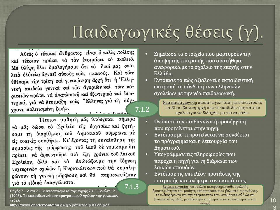103 Πηγές 7.1.2 και 7.1.3: Αποσπάσματα της πηγής 7.1. Ιμβριώτη, Ρ. (1923). Το εκπαιδευτικό μας πρόγραμμα, Ο αγώνας της γυναίκας, τεύχ.6 http://www.gen