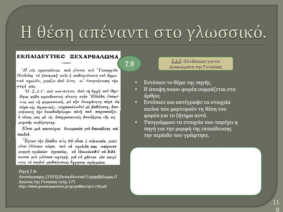 110 Σ. Δ. Γ. : Σύνδεσμος για τα Δικαιώματα της Γυναίκας Εντόπισε το θέμα της πηγής. Η άποψη ποιου φορέα εκφράζεται στο άρθρο ; Εντόπισε και κατέγραψε