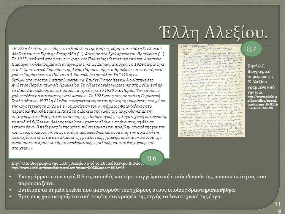 115 Πηγή 8.7: Βιογραφικό σημείωμα της Έ. Αλεξίου γραμμένο από την ίδια. http://www.ekebi.g r/frontoffice/portal. asp?cpage=NODE& cnode=461&t=98 « Η Έλ