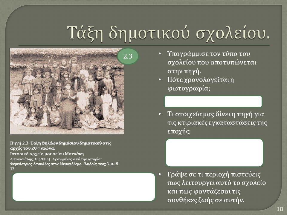 18 Πηγή 2.3: Τάξη Θηλέων δημόσιου δημοτικού στις αρχές του 20 ου αιώνα. Ιστορικό αρχείο μουσείου Μπενάκη. Αθανασιάδης, Χ. (2005). Αγνοημένες από την ι