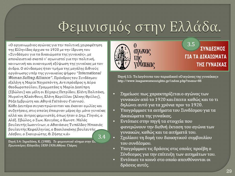 29 « Ο οργανωμένος αγώνας για την πολιτική χειραφέτηση της Ελληνίδας άρχισε το 1920 με την ίδρυση του « Συνδέσμου για τα δικαιώματα της γυναικός », με