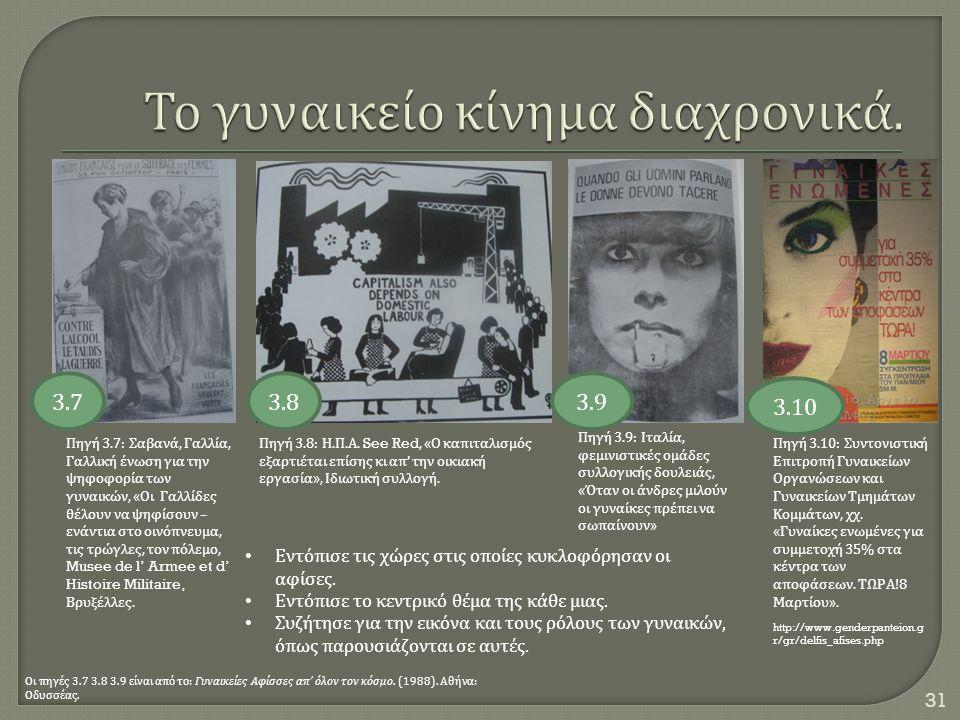31 Πηγή 3.9: Ιταλία, φεμινιστικές ομάδες συλλογικής δουλειάς, « Όταν οι άνδρες μιλούν οι γυναίκες πρέπει να σωπαίνουν » Πηγή 3.8: Η. Π. Α. See Red, «