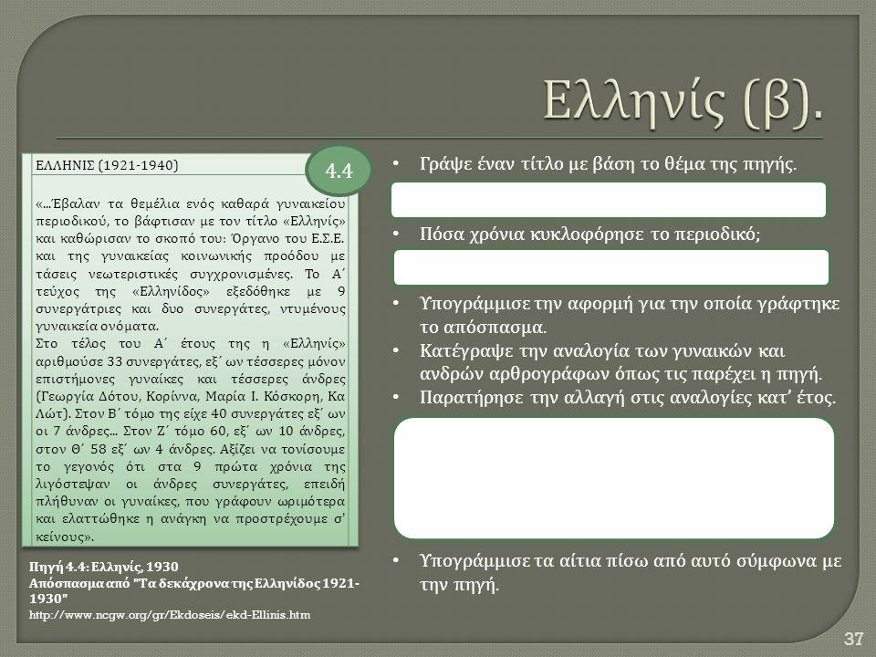 37 Πηγή 4.4: Ελληνίς, 1930 Απόσπασμα από