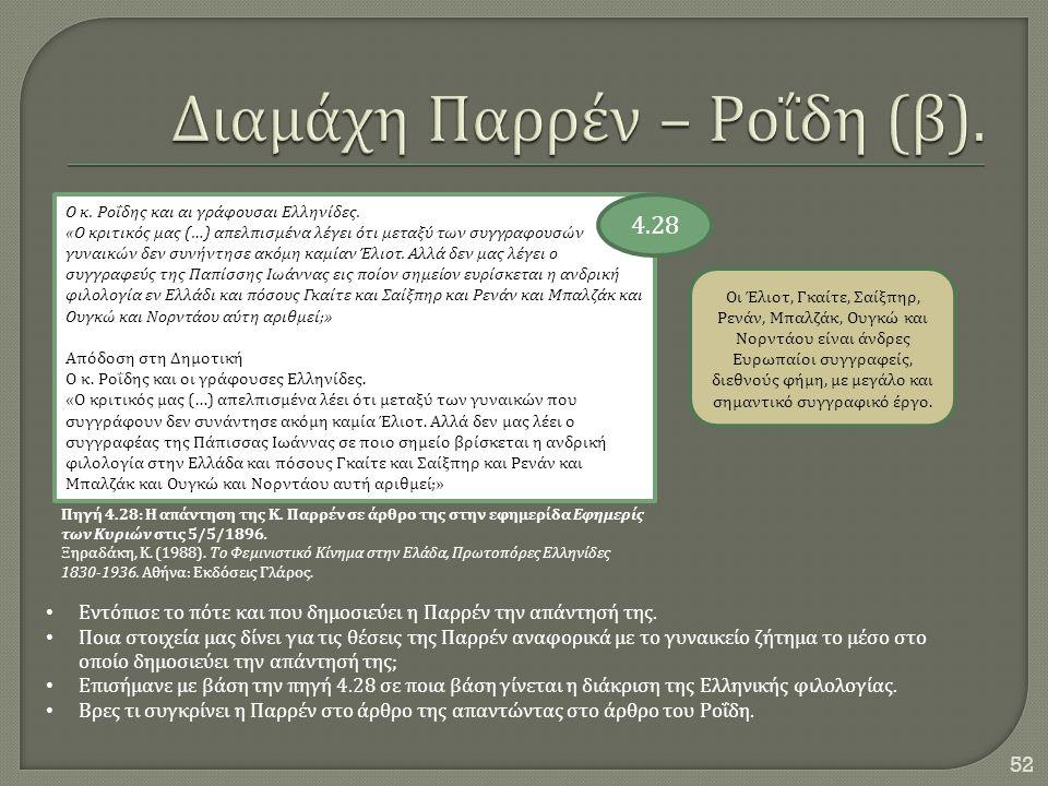 52 Ο κ. Ροΐδης και αι γράφουσαι Ελληνίδες. « Ο κριτικός μας (…) απελπισμένα λέγει ότι μεταξύ των συγγραφουσών γυναικών δεν συνήντησε ακόμη καμίαν Έλιο