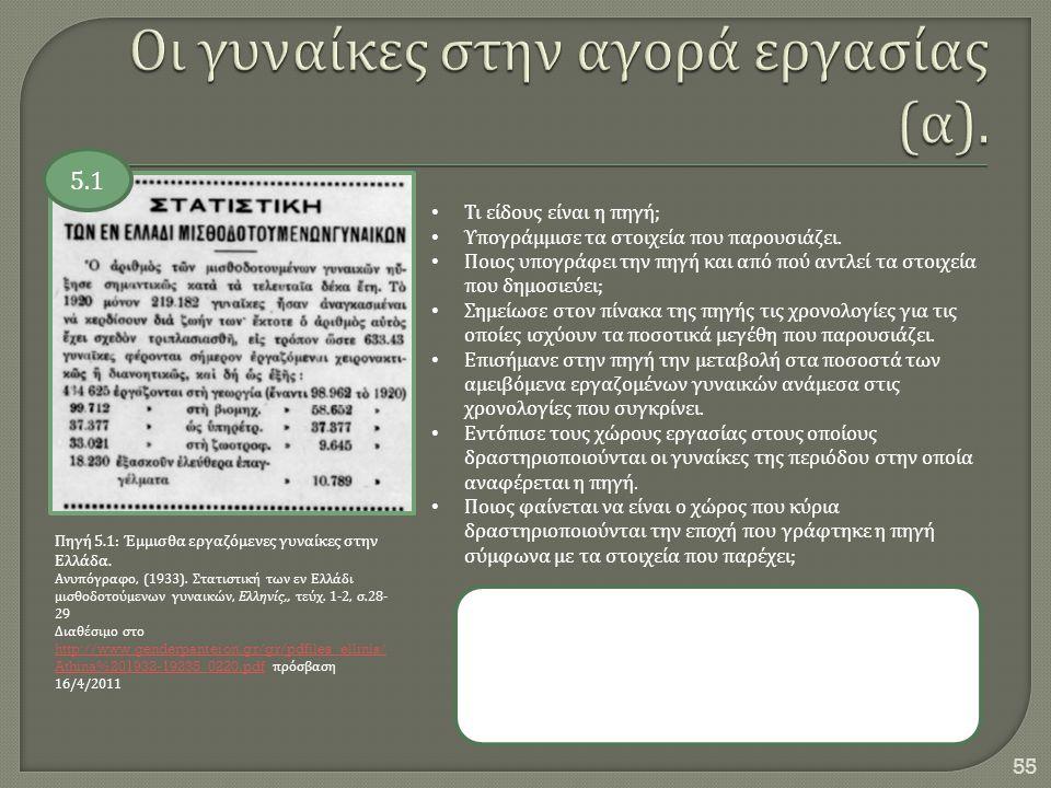 55 Πηγή 5.1: Έμμισθα εργαζόμενες γυναίκες στην Ελλάδα. Ανυπόγραφο, (1933). Στατιστική των εν Ελλάδι μισθοδοτούμενων γυναικών, Ελληνίς,, τεύχ. 1-2, σ.2