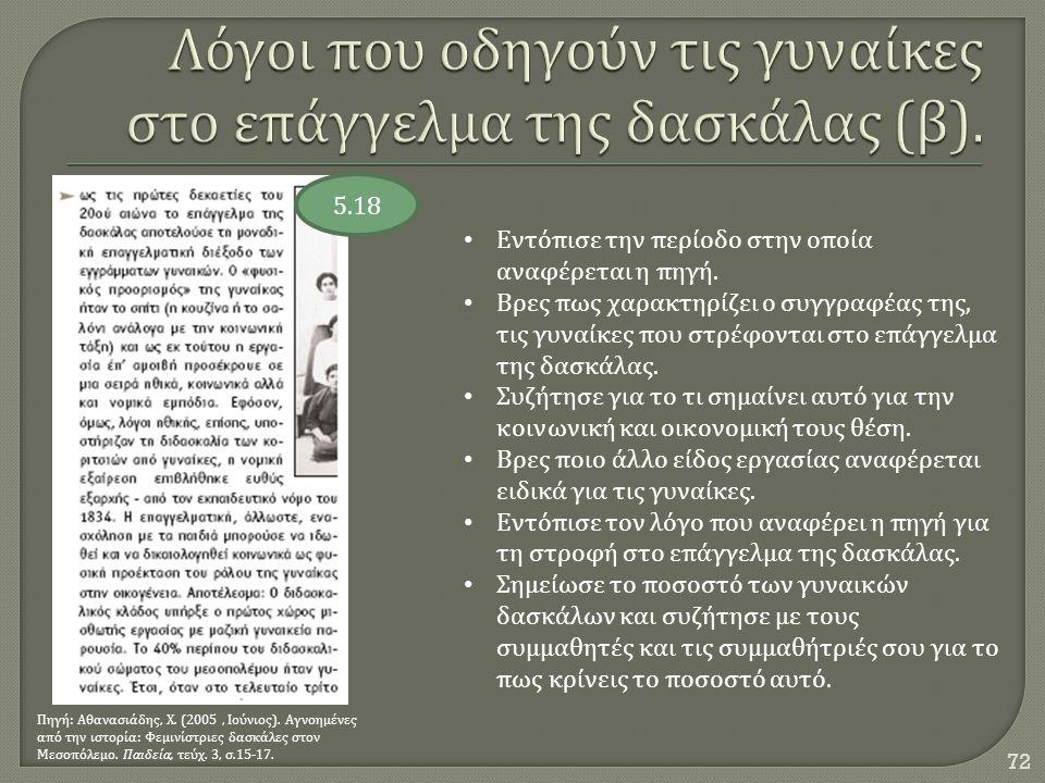 72 5.18 Πηγή : Αθανασιάδης, Χ. (2005, Ιούνιος ). Αγνοημένες από την ιστορία : Φεμινίστριες δασκάλες στον Μεσοπόλεμο. Παιδεία, τεύχ. 3, σ.15-17. Εντόπι