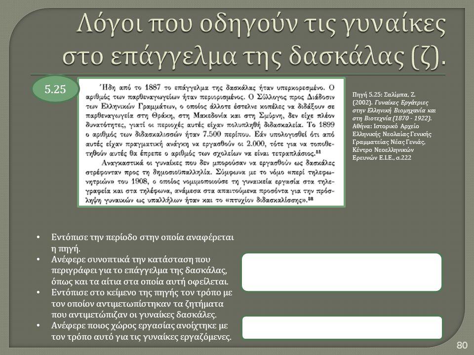 80 5.25 Πηγή 5.25: Σαλίμπα, Ζ. (2002). Γυναίκες Εργάτριες στην Ελληνική Βιομηχανία και στη Βιοτεχνία (1870 - 1922). Αθήνα : Ιστορικό Αρχείο Ελληνικής
