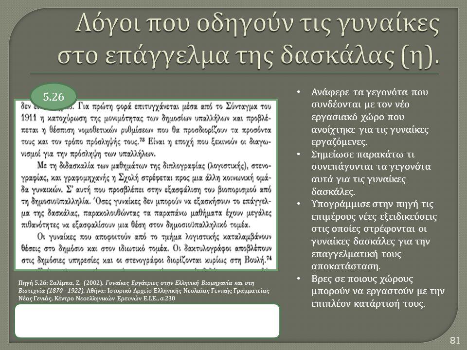 81 5.26 Πηγή 5.26: Σαλίμπα, Ζ. (2002). Γυναίκες Εργάτριες στην Ελληνική Βιομηχανία και στη Βιοτεχνία (1870 - 1922). Αθήνα : Ιστορικό Αρχείο Ελληνικής
