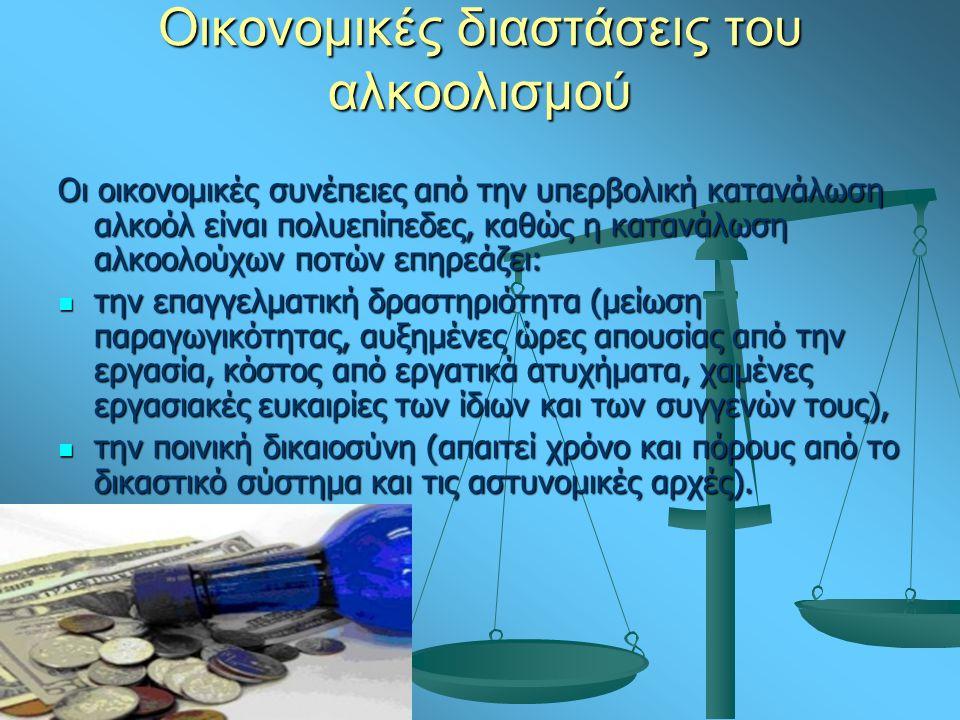 Οικονομικές διαστάσεις του αλκοολισμού Οι οικονομικές συνέπειες από την υπερβολική κατανάλωση αλκοόλ είναι πολυεπίπεδες, καθώς η κατανάλωση αλκοολούχων ποτών επηρεάζει: την επαγγελματική δραστηριότητα (μείωση παραγωγικότητας, αυξημένες ώρες απουσίας από την εργασία, κόστος από εργατικά ατυχήματα, χαμένες εργασιακές ευκαιρίες των ίδιων και των συγγενών τους), την επαγγελματική δραστηριότητα (μείωση παραγωγικότητας, αυξημένες ώρες απουσίας από την εργασία, κόστος από εργατικά ατυχήματα, χαμένες εργασιακές ευκαιρίες των ίδιων και των συγγενών τους), την ποινική δικαιοσύνη (απαιτεί χρόνο και πόρους από το δικαστικό σύστημα και τις αστυνομικές αρχές).