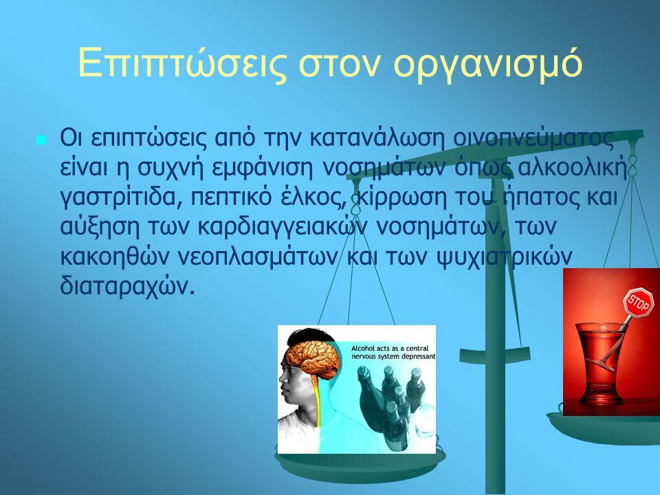 Επιπτώσεις στον οργανισμό Οι επιπτώσεις από την κατανάλωση οινοπνεύματος είναι η συχνή εμφάνιση νοσημάτων όπως αλκοολική γαστρίτιδα, πεπτικό έλκος, κίρρωση του ήπατος και αύξηση των καρδιαγγειακών νοσημάτων, των κακοηθών νεοπλασμάτων και των ψυχιατρικών διαταραχών.
