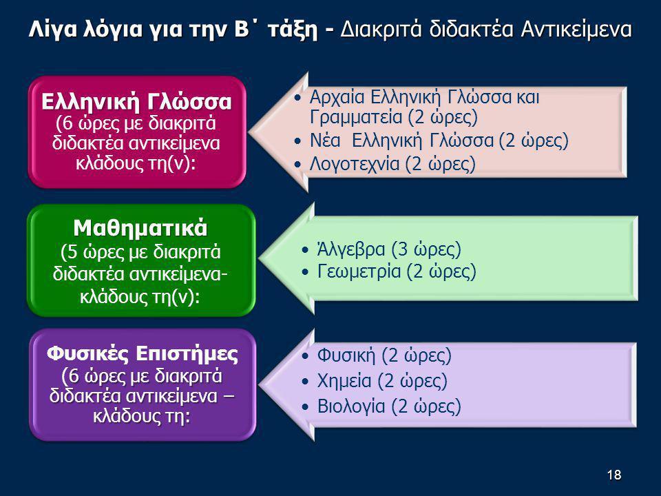 Λίγα λόγια για την Β΄ τάξη - Διακριτά διδακτέα Αντικείμενα 18 Αρχαία Ελληνική Γλώσσα και Γραμματεία (2 ώρες) Νέα Ελληνική Γλώσσα (2 ώρες) Λογοτεχνία (2 ώρες) Ελληνική Γλώσσα Ελληνική Γλώσσα (6 ώρες με διακριτά διδακτέα αντικείμενα κλάδους τη(ν): Άλγεβρα (3 ώρες) Γεωμετρία (2 ώρες) Μαθηματικά (5 ώρες με διακριτά διδακτέα αντικείμενα- κλάδους τη(ν): Φυσική (2 ώρες) Χημεία (2 ώρες) Βιολογία (2 ώρες) 6 ώρες με διακριτά διδακτέα αντικείμενα – κλάδους τη: Φυσικές Επιστήμες ( 6 ώρες με διακριτά διδακτέα αντικείμενα – κλάδους τη: