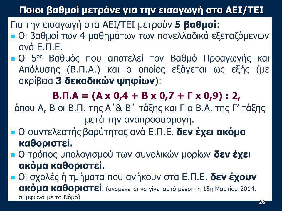 Ποιοι βαθμοί μετράνε για την εισαγωγή στα ΑΕΙ/ΤΕΙ Για την εισαγωγή στα ΑΕΙ/ΤΕΙ μετρούν 5 βαθμοί: Οι βαθμοί των 4 μαθημάτων των πανελλαδικά εξεταζόμενων ανά Ε.Π.Ε.
