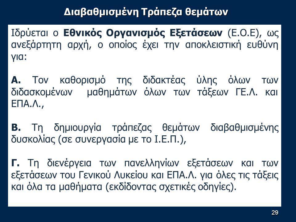 Διαβαθμισμένη Τράπεζα θεμάτων Ιδρύεται ο Εθνικός Οργανισμός Εξετάσεων (Ε.Ο.Ε), ως ανεξάρτητη αρχή, ο οποίος έχει την αποκλειστική ευθύνη για: Α.