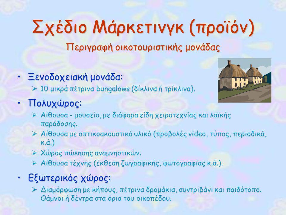 Σχέδιο Μάρκετινγκ (προϊόν) Περιγραφή οικοτουριστικής μονάδας Ξενοδοχειακή μονάδα:Ξενοδοχειακή μονάδα:  10 μικρά πέτρινα bungalows (δίκλινα ή τρίκλινα