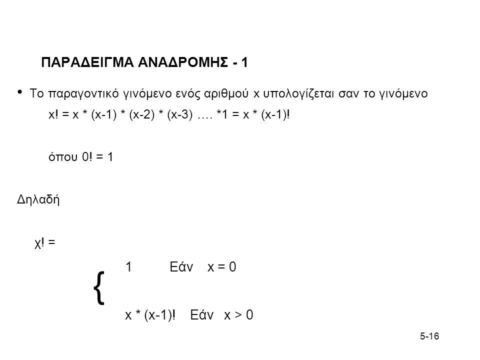5-16 ΠΑΡΑΔΕΙΓΜΑ ΑΝΑΔΡΟΜΗΣ - 1 Το παραγοντικό γινόμενο ενός αριθμού x υπολογίζεται σαν το γινόμενο x! = x * (x-1) * (x-2) * (x-3) …. *1 = x * (x-1)! όπ