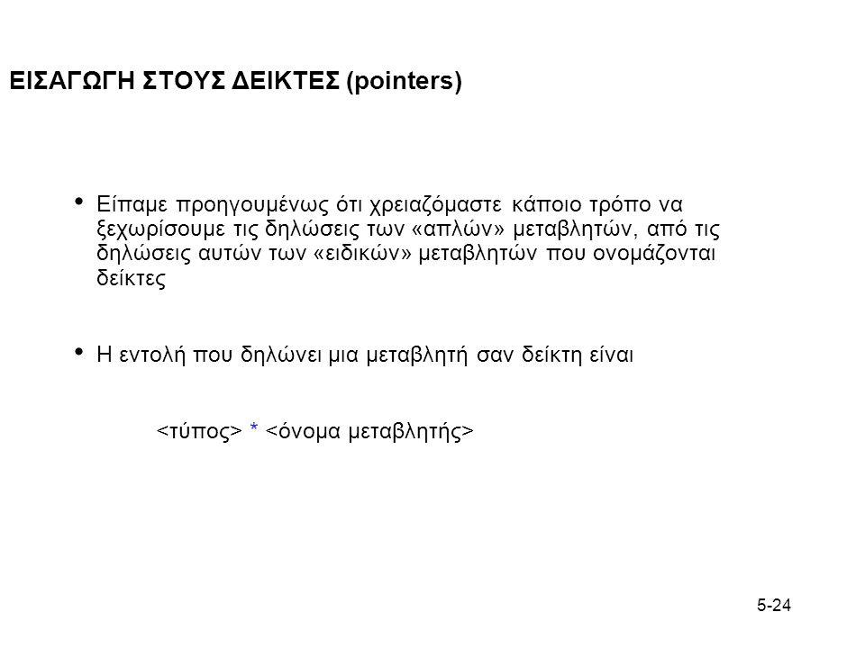 5-24 ΕΙΣΑΓΩΓΗ ΣΤΟΥΣ ΔΕΙΚΤΕΣ (pointers) Είπαμε προηγουμένως ότι χρειαζόμαστε κάποιο τρόπο να ξεχωρίσουμε τις δηλώσεις των «απλών» μεταβλητών, από τις δ