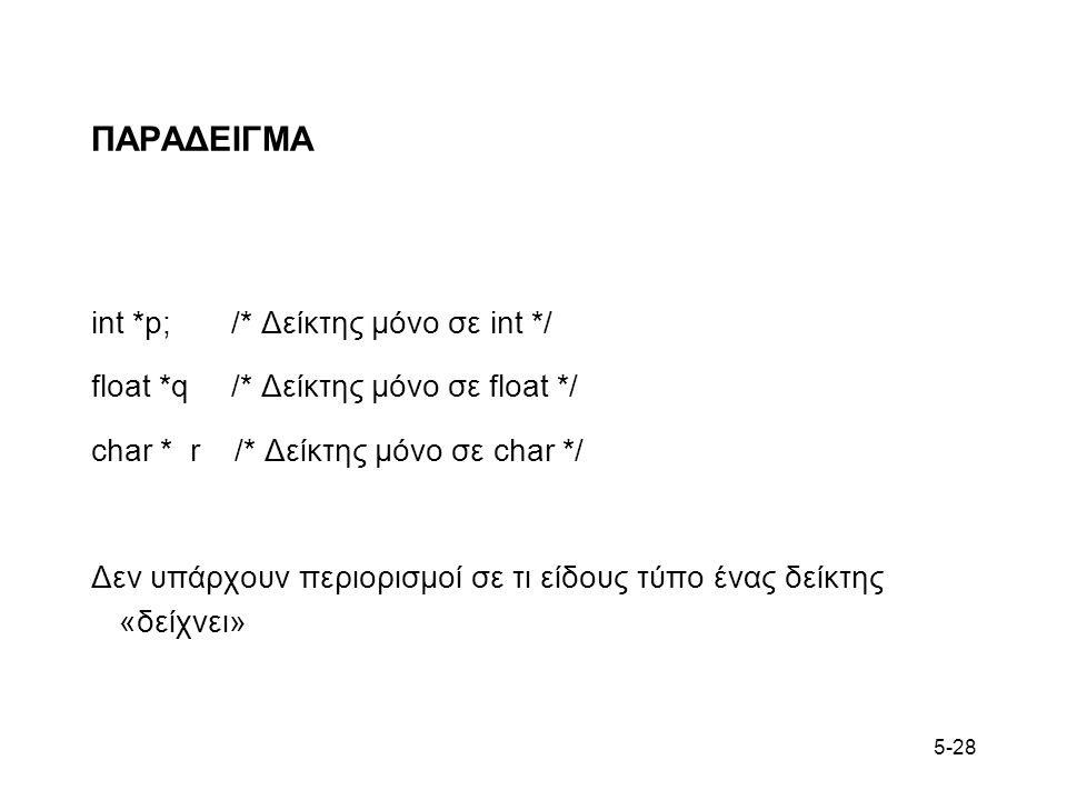 5-28 ΠΑΡΑΔΕΙΓΜΑ int *p; /* Δείκτης μόνο σε int */ float *q /* Δείκτης μόνο σε float */ char * r /* Δείκτης μόνο σε char */ Δεν υπάρχουν περιορισμοί σε