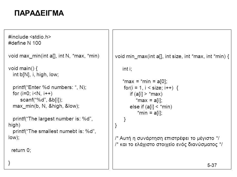 5-37 ΠΑΡΑΔΕΙΓΜΑ #include #define N 100 void max_min(int a[], int N, *max, *min) void main() { int b[N], i, high, low; printf( Enter %d numbers: , N); for (i=0; i<N, i++) scanf( %d , &b[i]); max_min(b, N, &high, &low); printf( The largest number is: %d , high) printf( The smallest numebt is: %d , low); return 0; } void min_max(int a[], int size, int *max, int *min) { int i; *max = *min = a[0]; for(i = 1, i < size; i++) { if (a[i] > *max) *max = a[i]; else if (a[i] < *min) *min = a[i]; } /* Αυτή η συνάρτηση επιστρέφει το μέγιστο */ /* και το ελάχιστο στοιχείο ενός διανύσματος */