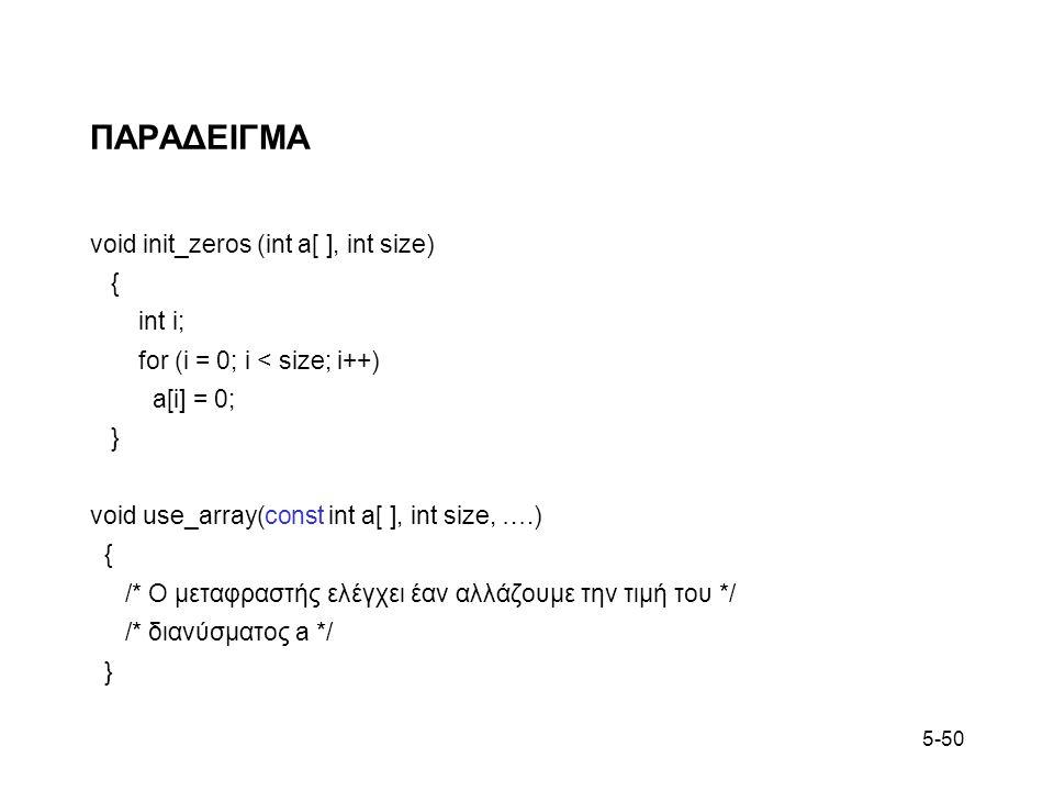 5-50 ΠΑΡΑΔΕΙΓΜΑ void init_zeros (int a[ ], int size) { int i; for (i = 0; i < size; i++) a[i] = 0; } void use_array(const int a[ ], int size, ….) { /* Ο μεταφραστής ελέγχει έαν αλλάζουμε την τιμή του */ /* διανύσματος a */ }