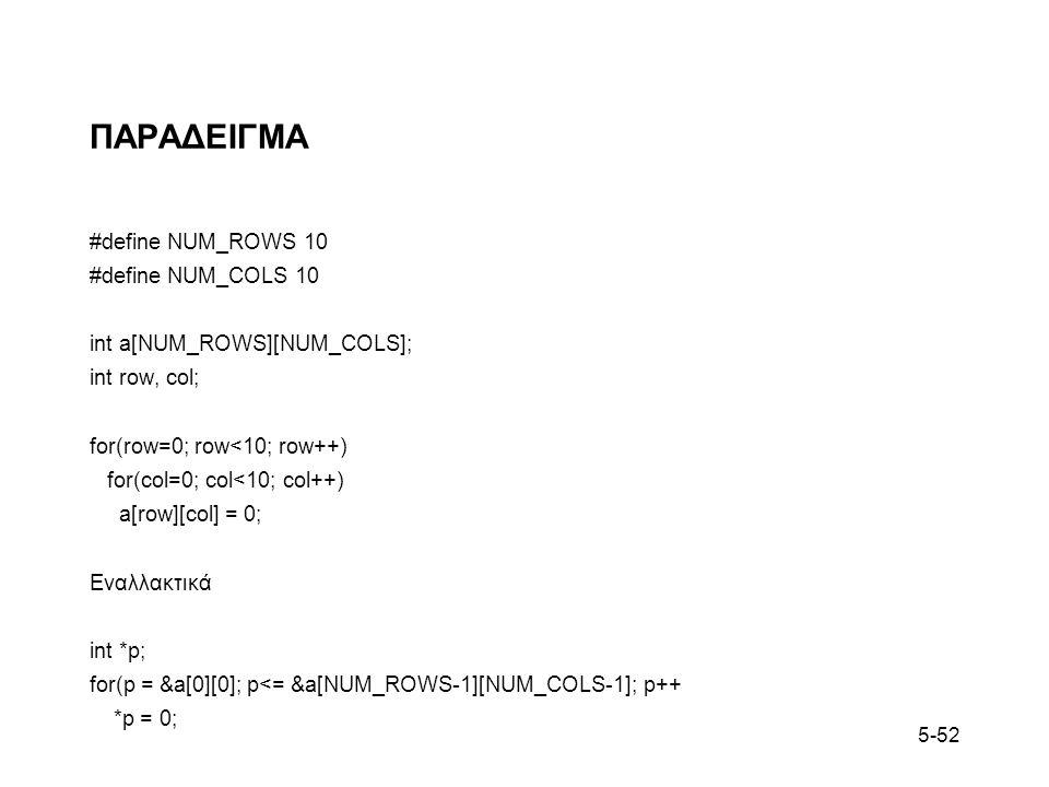 5-52 ΠΑΡΑΔΕΙΓΜΑ #define NUM_ROWS 10 #define NUM_COLS 10 int a[NUM_ROWS][NUM_COLS]; int row, col; for(row=0; row<10; row++) for(col=0; col<10; col++) a[row][col] = 0; Εναλλακτικά int *p; for(p = &a[0][0]; p<= &a[NUM_ROWS-1][NUM_COLS-1]; p++ *p = 0;