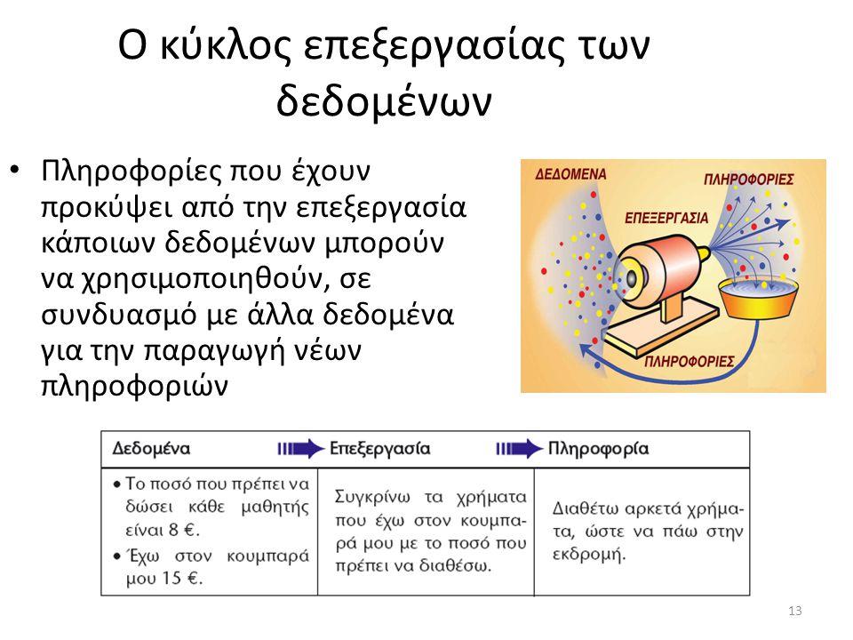 13 Ο κύκλος επεξεργασίας των δεδομένων Πληροφορίες που έχουν προκύψει από την επεξεργασία κάποιων δεδομένων μπορούν να χρησιμοποιηθούν, σε συνδυασμό μ