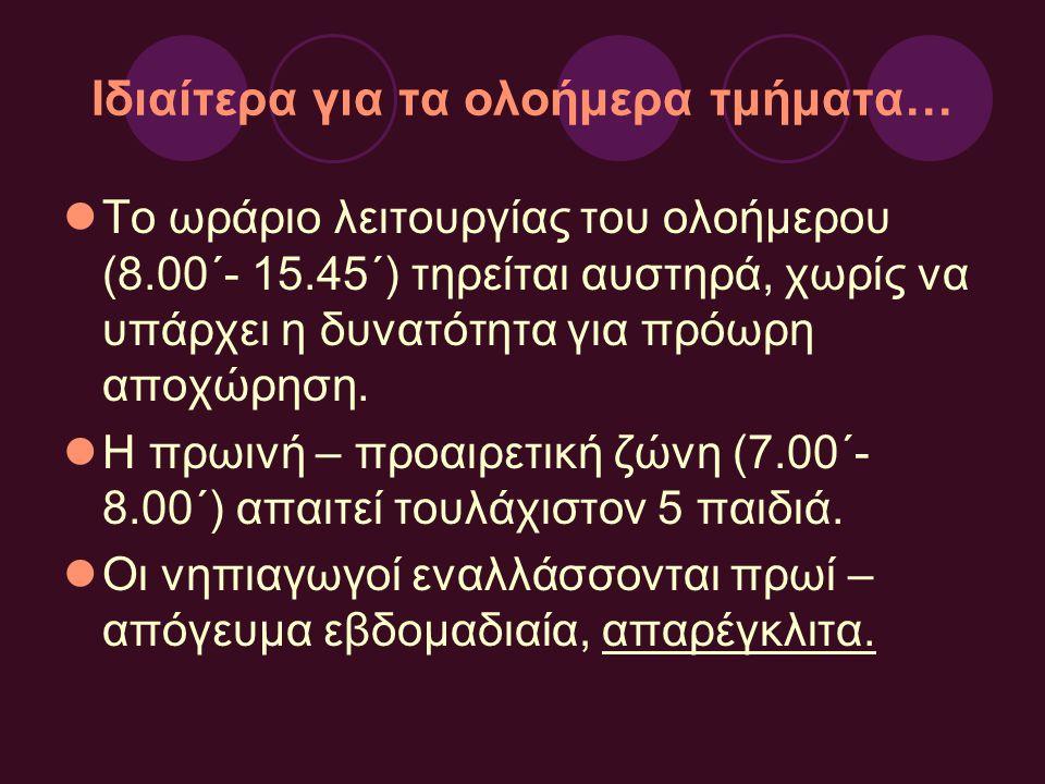 Ιδιαίτερα για τα ολοήμερα τμήματα… Το ωράριο λειτουργίας του ολοήμερου (8.00΄- 15.45΄) τηρείται αυστηρά, χωρίς να υπάρχει η δυνατότητα για πρόωρη αποχ