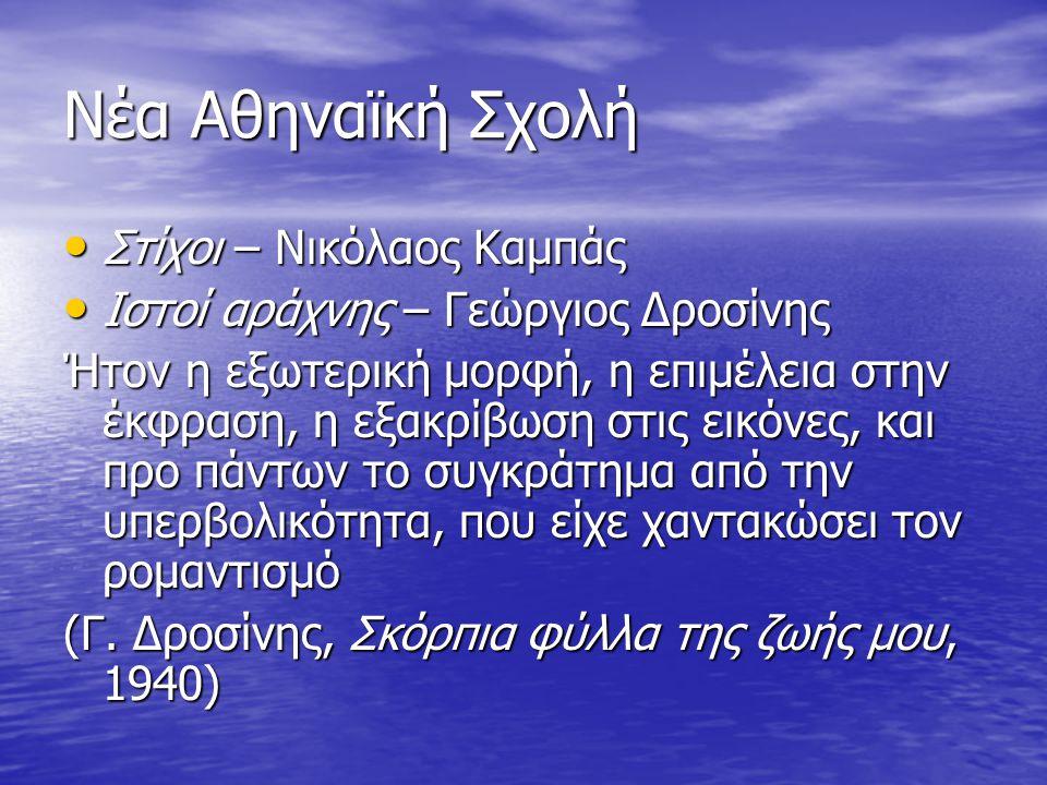 Νέα Αθηναϊκή Σχολή Στίχοι – Νικόλαος Καμπάς Στίχοι – Νικόλαος Καμπάς Ιστοί αράχνης – Γεώργιος Δροσίνης Ιστοί αράχνης – Γεώργιος Δροσίνης Ήτον η εξωτερ