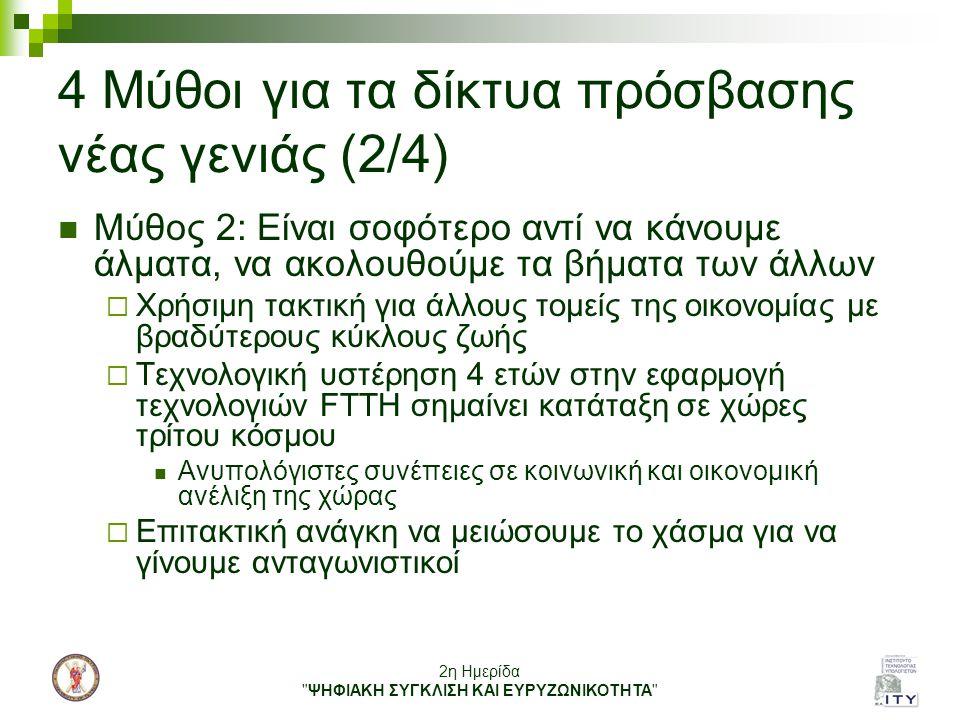 2η Ημερίδα ΨΗΦΙΑΚΗ ΣΥΓΚΛΙΣΗ ΚΑΙ ΕΥΡΥΖΩΝΙΚΟΤΗΤΑ 4 Μύθοι για τα δίκτυα πρόσβασης νέας γενιάς (3/4) Μύθος 3:Η Ελλάδα είναι καταδικασμένη να μείνει μια μικρή περιφερειακή χώρα, χωρίς ουσιαστικές δυνατότητες στην παγκόσμια κοινωνία της γνώσης  Μπορεί να συμβεί μόνο εάν πεισθούμε εμείς για αυτό  Οι νέες τεχνολογίες μπορούν να δώσουν ώθηση σε «περιφερειακές» χώρες  Το Διαδίκτυο έχει δώσει ανάσες ζωής σε πολλές «ξεγραμμένες» περιοχές  Στόχος: Να φέρουμε τη χώρα μας πιο κοντά στο διεθνές Internet με πολύ μεγαλύτερες ταχύτητες και μικρότερο κόστος Προϋποθέσεις για ενεργό συμμετοχή πολιτών – επιχειρήσεων στην παγκόσμια κοινωνία της γνώσης  Μπορούμε να ξαναγίνουμε εξαγωγέας καινοτόμων προϊόντων- υπηρεσιών προσελκύοντας παράλληλα ξένες επενδύσεις