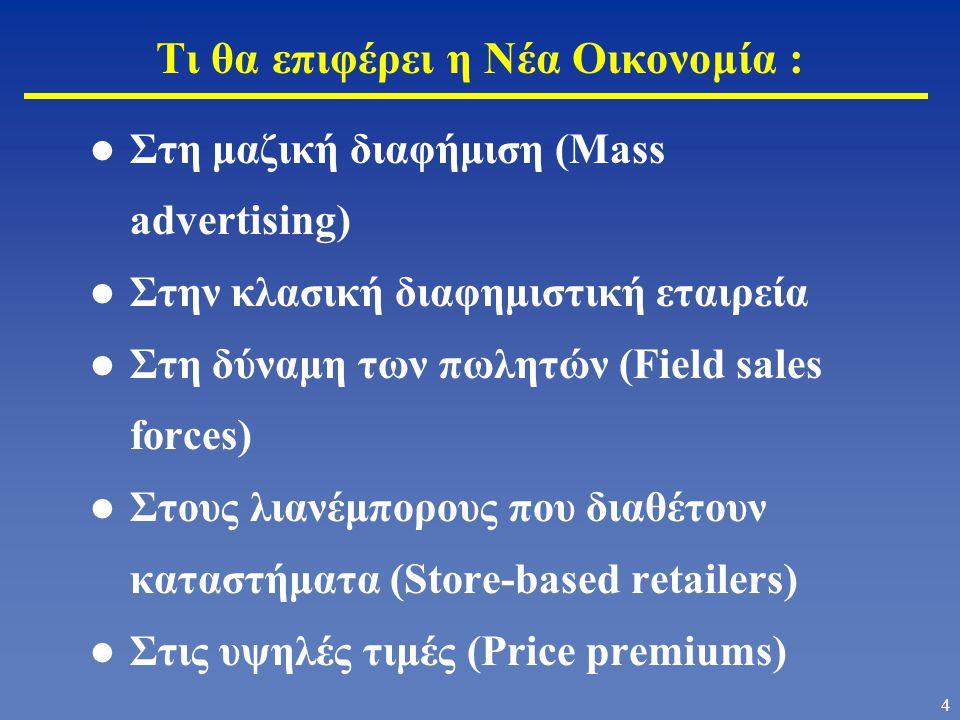 3 Αλλαγή από την Παλαιά Οικονομία (με βάση τη Μεταποίηση) στη Νέα Οικονομία (με βάση την Πληροφορία) Οργάνωση κατά προϊόν Επικέντρωση στις κερδοφόρες δραστηριότητες Έμφαση στα χρηματοοικονομικά μεγέθη Εστίαση στους μετόχους (shareholders) Το τμήμα Μάρκετινγκ κάνει μάρκετινγκ «Κτίσιμο» μαρκών μέσω διαφήμισης Επικέντρωση στην απόκτηση πελατών Μέτρηση ικανοποίησης πελάτη Υπερβολικές, αλλά ανεκπλήρωτες υποσχέσεις Επικέντρωση στην επιχείρηση Οργάνωση κατά τμήμα αγοράς Επικέντρωση στη διαχρονική αξία του πελάτη Έμφαση στο μάρκετινγκ Εστίαση στις ομάδες επιρροής (stakeholders) Όλοι στην επιχείρηση κάνουν μάρκετινγκ «Κτίσιμο» μαρκών μέσω συμπεριφοράς Επικέντρωση στη διατήρηση πελατών Μέτρηση της αξία του πελάτη και της πιστότητας του πελάτη Περιορισμένες, αλλά εκπληρωμένες στο έπακρον υποσχέσεις Επικέντρωση στην αλυσίδα αξίας