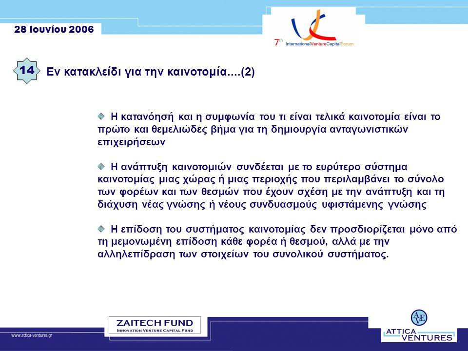 28 Ιουνίου 2006 Εν κατακλείδι για την καινοτομία....(2) 14 Η κατανόησή και η συμφωνία του τι είναι τελικά καινοτομία είναι το πρώτο και θεμελιώδες βήμα για τη δημιουργία ανταγωνιστικών επιχειρήσεων Η ανάπτυξη καινοτομιών συνδέεται με το ευρύτερο σύστημα καινοτομίας μιας χώρας ή μιας περιοχής που περιλαμβάνει το σύνολο των φορέων και των θεσμών που έχουν σχέση με την ανάπτυξη και τη διάχυση νέας γνώσης ή νέους συνδυασμούς υφιστάμενης γνώσης Η επίδοση του συστήματος καινοτομίας δεν προσδιορίζεται μόνο από τη μεμονωμένη επίδοση κάθε φορέα ή θεσμού, αλλά με την αλληλεπίδραση των στοιχείων του συνολικού συστήματος.
