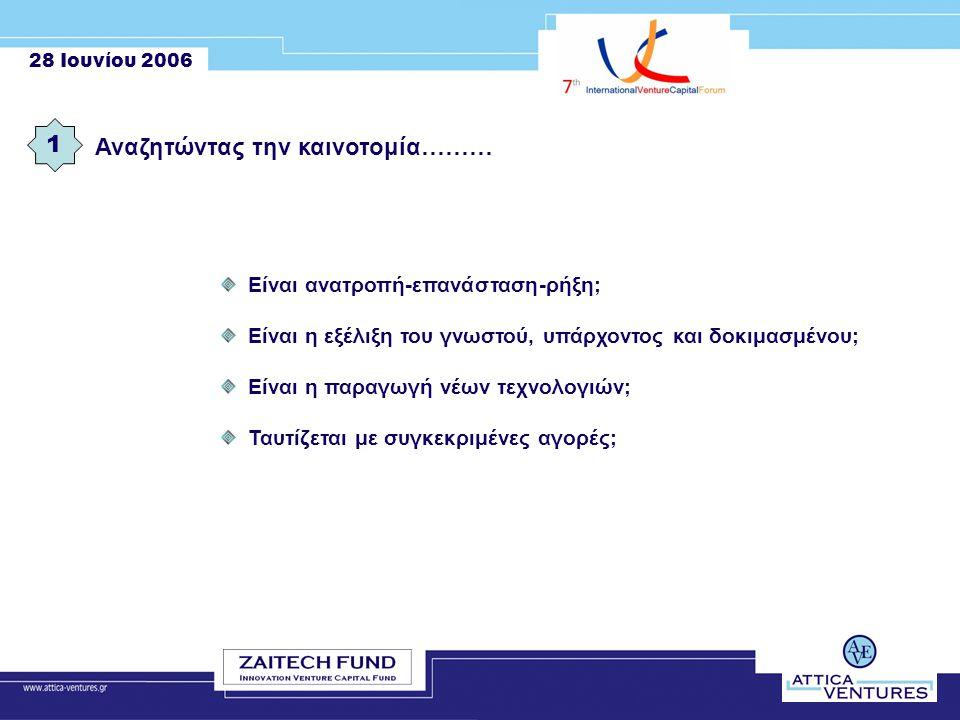 28 Ιουνίου 2006 Αναζητώντας την καινοτομία……… 1 Είναι ανατροπή-επανάσταση-ρήξη; Είναι η εξέλιξη του γνωστού, υπάρχοντος και δοκιμασμένου; Είναι η παραγωγή νέων τεχνολογιών; Ταυτίζεται με συγκεκριμένες αγορές;