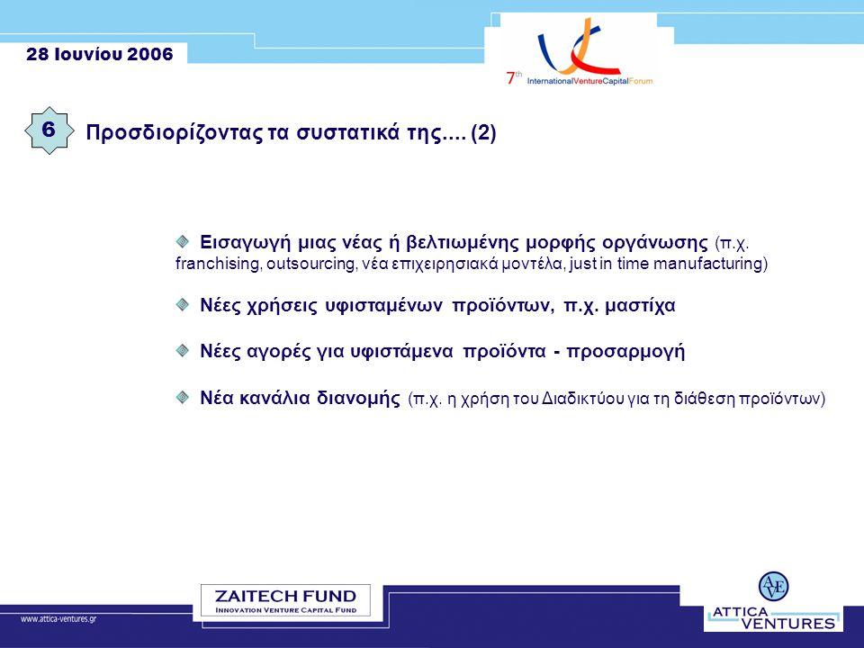 28 Ιουνίου 2006 6 Εισαγωγή μιας νέας ή βελτιωμένης μορφής οργάνωσης (π.χ.