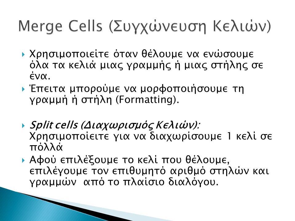  Χρησιμοποιείτε όταν θέλουμε να ενώσουμε όλα τα κελιά μιας γραμμής ή μιας στήλης σε ένα.  Έπειτα μπορούμε να μορφοποιήσουμε τη γραμμή ή στήλη (Forma