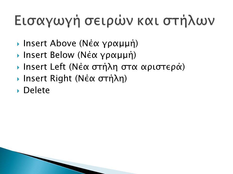  Insert Above (Νέα γραμμή)  Insert Below (Νέα γραμμή)  Insert Left (Νέα στήλη στα αριστερά)  Insert Right (Νέα στήλη)  Delete