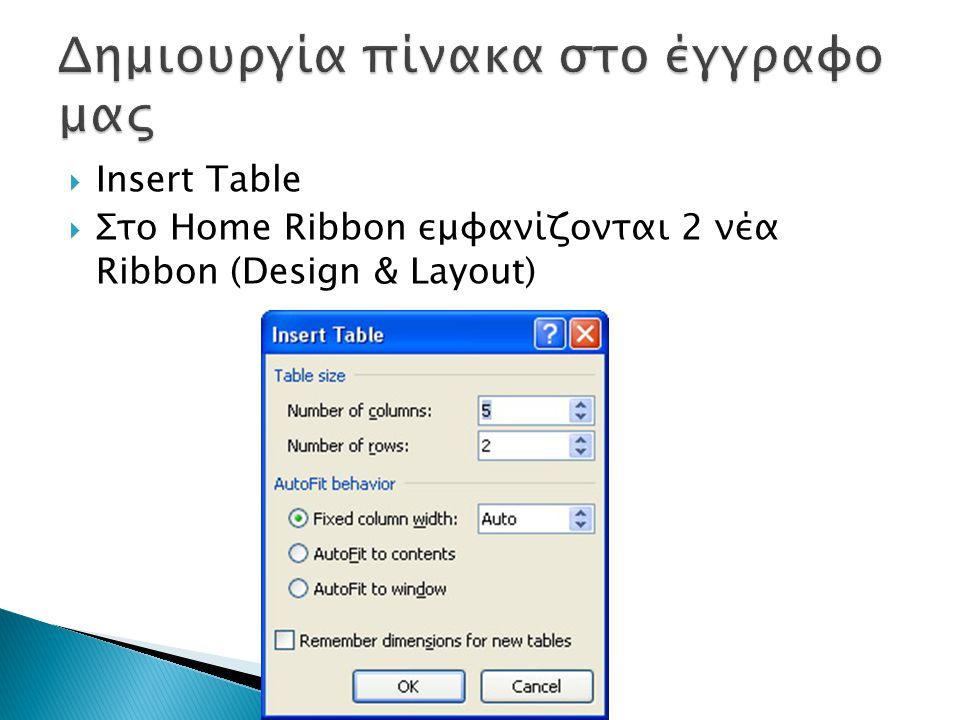  Insert Table  Στο Home Ribbon εμφανίζονται 2 νέα Ribbon (Design & Layout)