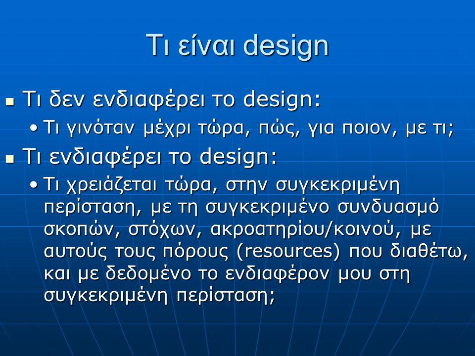 Τι είναι design Τι δεν ενδιαφέρει το design: Τι δεν ενδιαφέρει το design: Τι γινόταν μέχρι τώρα, πώς, για ποιον, με τι;Τι γινόταν μέχρι τώρα, πώς, για ποιον, με τι; Τι ενδιαφέρει το design: Τι ενδιαφέρει το design: Τι χρειάζεται τώρα, στην συγκεκριμένη περίσταση, με τη συγκεκριμένο συνδυασμό σκοπών, στόχων, ακροατηρίου/κοινού, με αυτούς τους πόρους (resources) που διαθέτω, και με δεδομένο το ενδιαφέρον μου στη συγκεκριμένη περίσταση;Τι χρειάζεται τώρα, στην συγκεκριμένη περίσταση, με τη συγκεκριμένο συνδυασμό σκοπών, στόχων, ακροατηρίου/κοινού, με αυτούς τους πόρους (resources) που διαθέτω, και με δεδομένο το ενδιαφέρον μου στη συγκεκριμένη περίσταση;