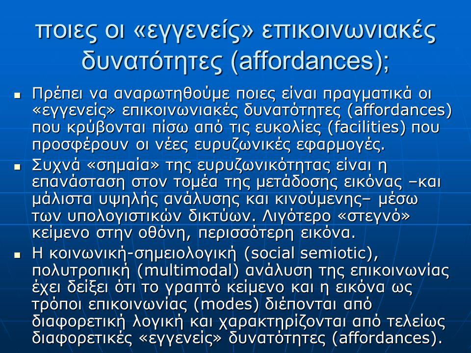 ποιες οι «εγγενείς» επικοινωνιακές δυνατότητες (affordances); Πρέπει να αναρωτηθούμε ποιες είναι πραγματικά οι «εγγενείς» επικοινωνιακές δυνατότητες (affordances) που κρύβονται πίσω από τις ευκολίες (facilities) που προσφέρουν οι νέες ευρυζωνικές εφαρμογές.