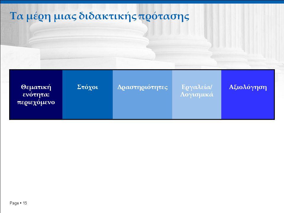 Page  15 Τα μέρη μιας διδακτικής πρότασης Θεματική ενότητα: περιεχόμενο ΣτόχοιΔραστηριότητεςΕργαλεία/ Λογισμικά Αξιολόγηση