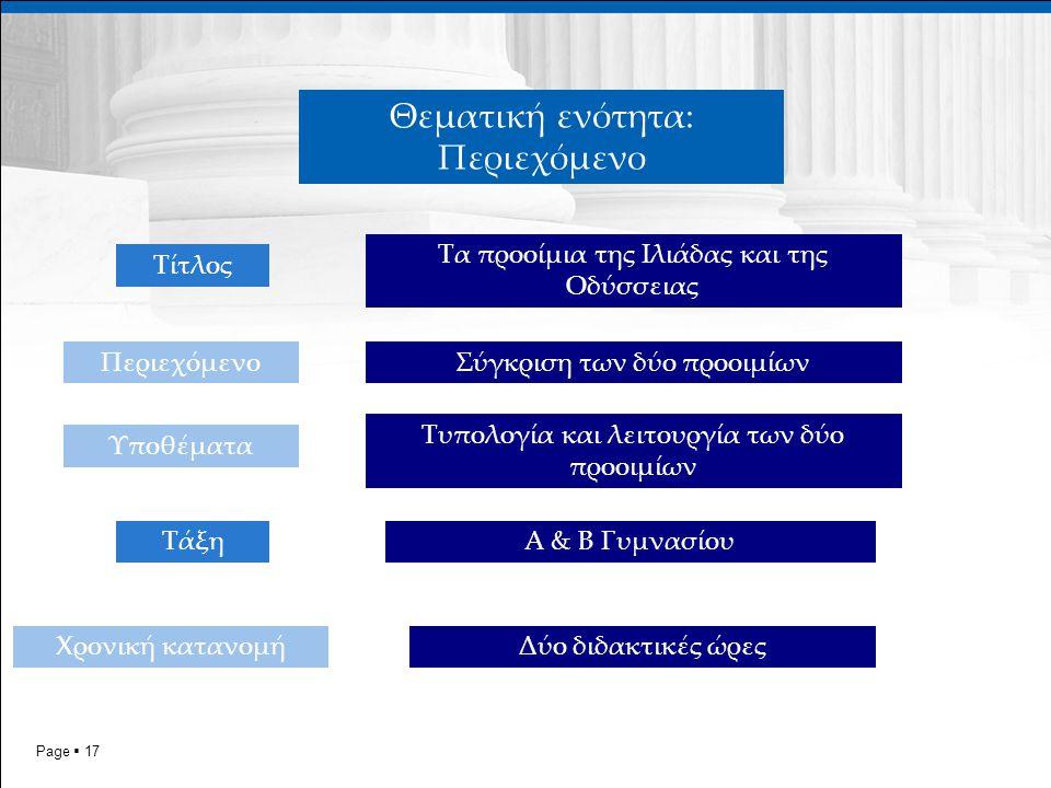 Page  17 Τίτλος Θεματική ενότητα: Περιεχόμενο Χρονική κατανομή Περιεχόμενο Τα προοίμια της Ιλιάδας και της Οδύσσειας Σύγκριση των δύο προοιμίων Υποθέματα Τυπολογία και λειτουργία των δύο προοιμίων ΤάξηΑ & Β Γυμνασίου Δύο διδακτικές ώρες