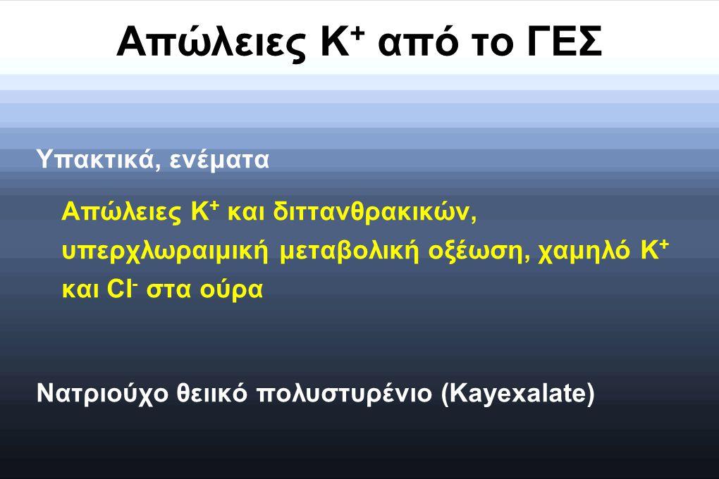 Απώλειες K + από το ΓΕΣ Υπακτικά, ενέματα Απώλειες K + και διττανθρακικών, υπερχλωραιμική μεταβολική οξέωση, χαμηλό K + και CI - στα ούρα Νατριούχο θε